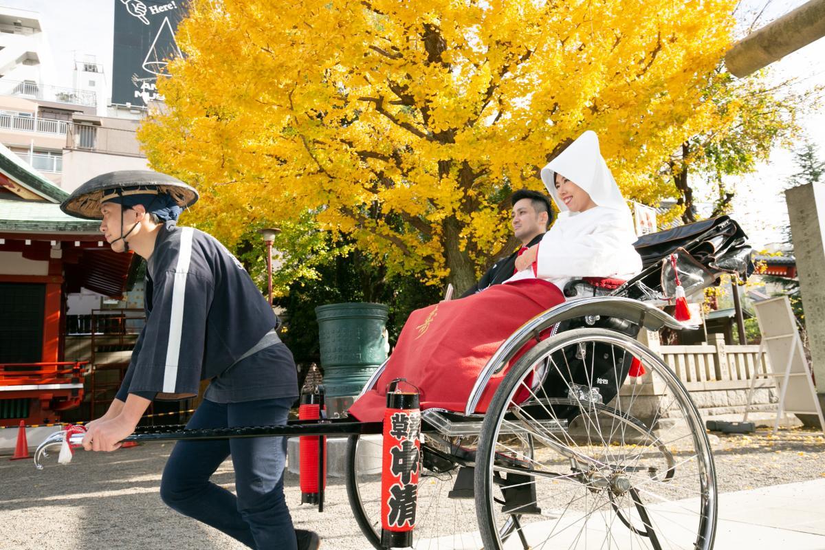 銀杏が綺麗な浅草神社、時期によっては桜も楽しめます
